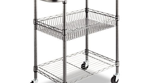 Alera 3 Tier Wire Rolling Cart, 16 By 26 By 39 Inch, Black Anthracite