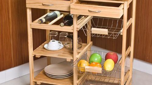 SoBuy Wooden Kitchen Storage Cart With Shelves U0026 Drawers,Hostess Trolley, Kitchen Storage Rack FKW04 N, Natural,67x 37 X 75cm