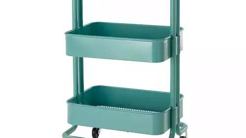 Rolling Organization Cart On Wheels Is Metal With 3 Deep