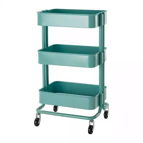 Rolling organization cart on wheels is metal with 3 deep bins center bin is adjustable color Home styles natural designer utility cart