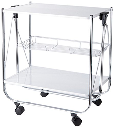 Torre tagus 950108a apex folding serving cart white for Collapsible kitchen cart