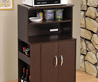 Kitchen Microwave Cart With Spice Rack And Electrical Socket Espresso Finish