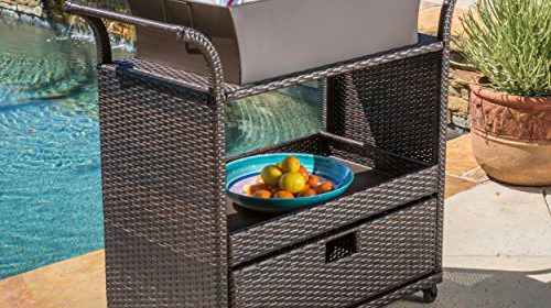 Bar Cart Utility Rolling Wheels Wicker Kitchen Island Storage Portable  Table Indoor Outdoor Backyard Patio Food Drinks Serving Trolly Bar Cart  Resin Wicker ...