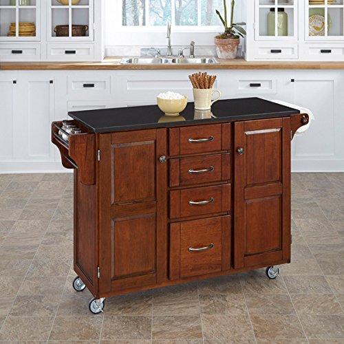 home styles cherry finish black granite top createacart