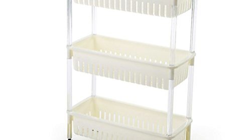 SUNLIGHTAM 3 Tier Kitchen Trolley On Wheel Vegetable Fruit Storage Rack  Basket Corner Shelf Slim Slide Out (White)