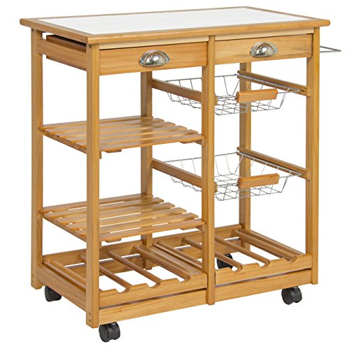 Rolling Wooden Kitchen Island Storage Utility Cart Dining Trolley With  Drawers Storage Basket Slatted Shelves Wine Racks Towel Rack, Pinewood And  Stainless ...