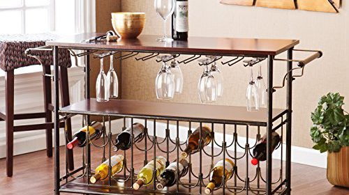 Bar Cart With Glass And Bottle Support, Metal Kitchen Cart Rolling  Furniture Island. Portable Pool Bar Great Dining Room Accesories With  Storage For Wine.