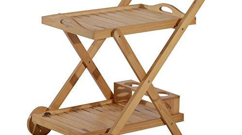 Foldable Wooden Rolling Kitchen Cart With 3 Bottles Wine Rack Trolley  Storage Unit Folding Kitchen Island Serving Utility Dining Room Portable 2  Tiers ...