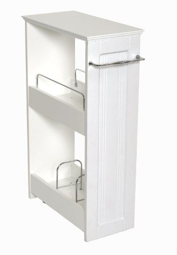Zenna Home 9227wwbb Slimline Rolling Storage Shelf White