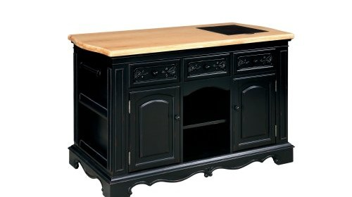 Powell Pennfield Kitchen Island Black Natural Kitchen Carts