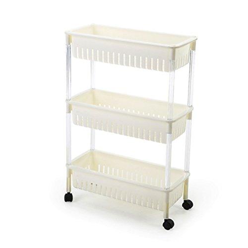 Delicieux SUNLIGHTAM 3 Tier Kitchen Trolley On Wheel Vegetable Fruit Storage Rack  Basket Corner Shelf Slim Slide Out (White)