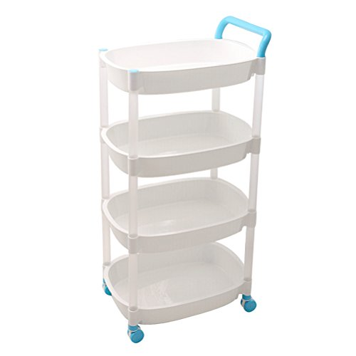 SUNLIGHTAM 4 Tier Kitchen Storage Rolling Cart Basket Shelving Trolley Utility  Cart On Wheels Bathroom Bedroom Office Holder Organizer Desk Bookshelf  (Blue)